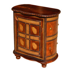 Sierra Living Concepts - Traditional Wood & Brass Oval Accent Cabinet End Table - Bring a extraordinary craftsmanship and a splash of fun to you home with the Turkish Golden Elephants End Table Cabinet.