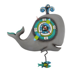 Allen Designs - Allen Designs `Whet Whilly` Spouting Whale Pendulum Wall Clock - Although he is keeping accurate time, this amusing whale is really just going with the flow. The hand painted wall clock has a unique whimsically surreal design that is simply charming. Made from cold cast resin, the remarkable piece measures 10 1/2 inches wide, 9 inches tall, and 2 inches deep. A metal bracket on the back side allows the clock to hang from one screw or wall hanger. The Quartz clock movement runs on 1 AA battery (not included) and swings an electromagnetic-controlled pendulum, in the shape of a school of fish, 3 1/2 inches below the bottom of the whale. This splendid clock makes an excellent contemporary art home accent with a unique design that must be adored.
