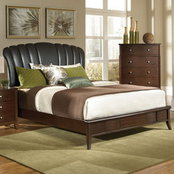 Coaster - Addley Queen Bed - This platform like bed will be the centerpiece in your master suite or bedroom. It features a shell shaped brown by-cast vinyl detail on the headboard with a gentle curve finished in dark cherry. Sleek side rails, tapered feet and a low profiled look draws attention to the polished, causal style. Complementary storage options include a night stand, chest of drawers, dresser, mirror, and other pieces for a complete bedroom ensemble.