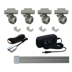 """Jesco Lighting - Jesco Lighting KIT-MTSL217-A Solaris LED Miniature Under Cabinet Track Kit - Jesco Lighting has built a solid reputation on quality, service and value. An expanded product offering includes a broad range of indoor and outdoor lighting products. All are available in various energy-efficient lamp sources and options exist for a multitude of power supplies and accessories allowing you to customize according to your project needs.Solaris """"Helen"""" led miniature track kit. Includes 4 slidable led modules, 4ft of track and a wall plugged power supply. Features:"""