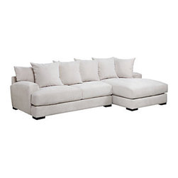 Z Gallerie - Stella Sectional With Chaise - Our fresh Stella Collection boasts sophistication without stuffiness.  With its classic burgeoning motif, this timeless collection can sit pretty in a formal environment.  While at the same time, the sofa, chair, and sectional are irresistibly comfortable with their low sloped arms, back pillows and throw pillows, promoting absolute relaxation.Additional configurations are available for more information call 800-908-6748