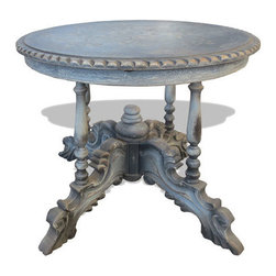 Koenig Collection - Traditional Accent Table Vero, Grayish Blue Distressed - Vero Accent Table, Grayish Blue Distressed with Gold Leaf and Scrolls