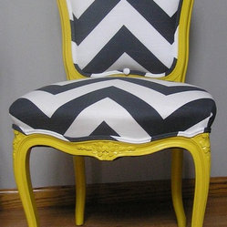 Yellow And Charcoal Chevron French Provincial Side Chair By Upcycled Home