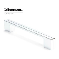 9204-1026-P Polished Chrome Cabinet Pull by Berenson - Polished Chrome modern style 160mm center to center cabinet pull. Distinguished by smooth, clean, geometric shapes this collection focuses on the less is more approach. The intricate balance of bold yet simple is what makes this style so sophisticated. Available Finishes: Brushed Nickel, Black, Polished Chrome