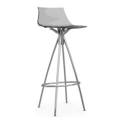 Calligaris Ice Bar Stool Satin Frame Transparent