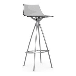 Calligaris - ICE Bar Stool, Satin Frame, Transparent Smoked Grey, Non-Swiveling - This sexy bar stool will have you sitting high and mighty. Made in Italy, its sleek silhouette and European styling make it a good choice for modern interiors.