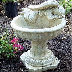 Athena Garden Cast Stone Heavenly Angel Bird Bath - Your garden will always have an angel watching over it if you add the Athena Garden Cast Stone Heavenly Angel Bird Bath. This s a highly detailed birdbath crafted of a single piece of glass fiber reinforced concrete. All details are hand-carved to perfection, from the angels wings, to her sweetly sleepy face, to the detailed birdbath she rests upon. This classic, pedestal-style birdbath comes in a variety of lovely color options, perfect for gracing any garden or patio. It is 14 inches in diameter and stands 17 inches tall. Every little sparrow is looked after.Please note this product does not ship to Pennsylvania.