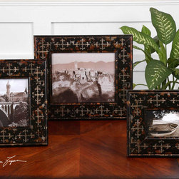 Damir, Photo Frames, S/3 - Heavily antiqued silver and matte black finish with gold undertones. Holds photo Sizes: 4×6, 5×7, 8×10.