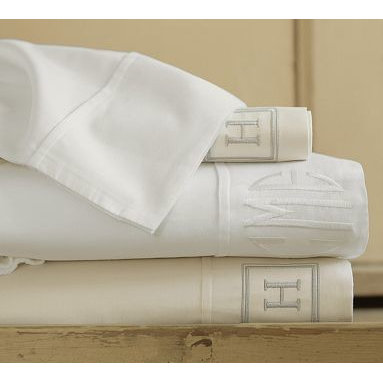 PB Essential 300-Thread-Count Fitted Sheet, Queen, White - Designed for exceptional softness that's easy on your budget, our PB Essentials Bedding is simply the best value you can find. Pure Egyptian cotton sateen. 300 thread count. Set includes flat sheet, fitted sheet and two pillowcases (one with twin). Sheets also sold individually: flat sheet, fitted sheet or 2 pillowcases. Available in white or ivory. Monogramming is available at an additional charge. Monogram will be centered along the border of the pillowcase and the flat sheet. Machine wash. Imported.