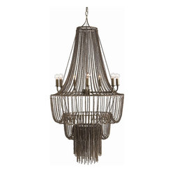 Arteriors - Maxim Chandelier - You will fall for the dramatic design of this waterfall chandelier. The seven lights are set in a modern, silver ring, while a curtain of metal beads drapes and cascades its way from top to bottom. In a grand foyer or double-height dining room, it's sure to make your guests gush.