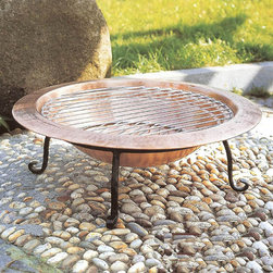 Backyard Copper Fire Pit - Bring the blaze to your backyard with this solid copper and wrought iron fire pit. The handmade fire pit is handcrafted from 100% recycled copper. With the deepest bowl in the market it will hold plenty of wood for the evenings fire. The base & grill are made of wrought iron. This backyard fire-pit can be used to burn wood or charcoal, but it can also be used to plant flowers or chill drinks. You can even cook a feast on the included chrome-plated steel cooking grate. With included chrome-plated steel cooking grate, you do not have to worry about having potentially toxic paint on your food or your food falling into fire like some other fire pits in the market.