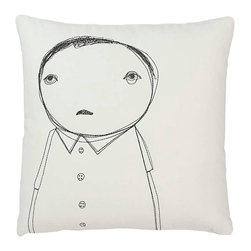 k studio - Strange Portrait Series - Man with Buttons Pillow - Great design, green materials, and social responsibility need not be at odds with one another. In fact, at k studio they think these ideas are inseparable. They started this company with just this idea in mind. At Shelly and Mary Klein's growing studio in Grand Rapids, Michigan, they manage each product from start to finish. They start with fabric made from some of the most sustainable materials available such as hemp, organic cotton, and recycled wool. K studio designs are generated in house and are then embroidered, assembled, packaged, and shipped by their skilled team. Embroidered portraits of strange characters adorn these organic cotton pillows.  The back of each features one small detail from the front.