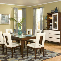 Najarian Furniture Enzo Dining Set - This dining set is a cross between traditional and modern and a throwback to the 1970s. There's a little something for everyone to love.