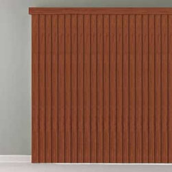 Bali - Bali Vinyl Vertical Blinds: Premium Faux Wood - The Bali Premium Faux Wood Vertical Blind collection features a wide array of realistic stain colors that not only coordinates with interior trim and popular furniture colors, but also with Bali's horizontal faux wood blinds.