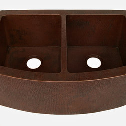 """Artesano Copper Sinks - Curved Apron Front Kitchen Copper Sink - Undermount - Double Basin, With 2 Match - Curved Apron Front Kitchen Copper Sink - Undermount - Double Basin - 33 x 22 x 10.5"""" - Rim 2"""" - Each Basin 14 x 18 x 10""""- Drain 3.5"""" - Apron Extends 3.5"""" on sides"""
