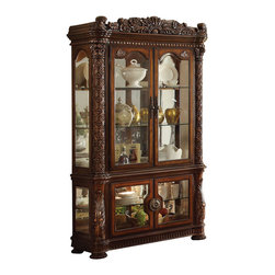 ACME Furniture - Acme Vendome Curio Cabinet with Mirror Back in Cherry - Use this Vendome Curio Cabinet with Mirror Back by Acme Furniture for displaying special pieces and enhancing your formal dining room. Across the top and along the sides, carved motifs are shown off while the mirror back lets your china, vases and more shine. Three shelves and four doors provide plenty of room for all your pieces. Decorative hardware and a Cherry wood finish is used to complete the piece. Give your dining room storage and style with this curio cabinet.