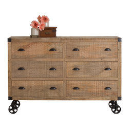 Agra Reclaimed wood 6 Drawer Dresser - Product Features: