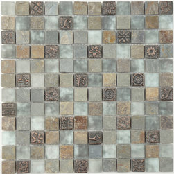 "Euro Glass - Opulence Green Tea  7/8"" x 7/8"" Grey Monarchy Glass Series Frosted Glass and Sto - Sheet size:  11 5/8"" x 11 5/8""        Tile Size:  7/8"" x 7/8""        Tiles per sheet:  144        Tile thickness:  1/4""        Grout Joints:  1/8""        Sheet Mount:  Mesh Backed        Sold by the sheet    -  Ancient Greece is the source of inspiration for new mosaics with exquisite combinations of fine marble and exotic coloured glass. An authentic melting pot of styles and materials."