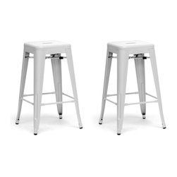 """Baxton Studio - Baxton Studio French Industrial Modern Counter Stool in White (Set of 2) - We didn't think a piece of furniture could possess a skill such as talent until we met these spectacular seats. Cafe counter chairs? Industrial bar stools?  Minimalist modern counter stools? You decide, because we think this design is skilled enough to be all of the above.  This Chinese-built steel stackable counter stool is finished with a powder-coating of glossy, modern white.  To clean, wipe with a damp cloth.  Non-marking black plastic feet help protect sensitive flooring.  The stools are fully assembled. The French Industrial Collection includes counter stools, bar stools, and dining chairs in a selection of colors including gray, bronze, gunmetal, and white.Product: 17""""x17""""Dx26.5""""H, seat dimension:12""""Wx12""""Dx26.5""""H"""
