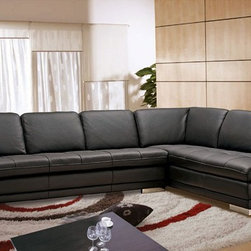 Beverly Hills Furniture Inc. - Block Italian Leather Sectional Sofa, Right Chaise - The Block Italian Leather Sectional crafted in minimalistic art design and has so cozy and sophisticated look. You can find there 100% sumptuous premium top grain leather, reinforced comer blocks for added strength, toughed seating upholstery and high density foam seating and backrest for enhanced comfort and longevity.