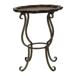 Lorraine Scalloped Iron / Cherry Side Table