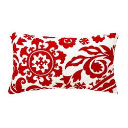 5 Surry Lane - Red Suzani Lumbar Pillow - Nothing beats a suzani print for a bold look at home. Done in red and white it's chic and easy to work with throughout your modern home.