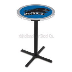 Holland Bar Stool - Holland Bar Stool L211 - Black Wrinkle Eastern Illinois Pub Table - L211 - Black Wrinkle Eastern Illinois Pub Table belongs to College Collection by Holland Bar Stool Made for the ultimate sports fan, impress your buddies with this knockout from Holland Bar Stool. This L211 Eastern Illinois table with cross base provides a commercial quality piece to for your Man Cave. You can't find a higher quality logo table on the market. The plating grade steel used to build the frame ensures it will withstand the abuse of the rowdiest of friends for years to come. The structure is powder-coated black wrinkle to ensure a rich, sleek, long lasting finish. If you're finishing your bar or game room, do it right with a table from Holland Bar Stool. Pub Table (1)