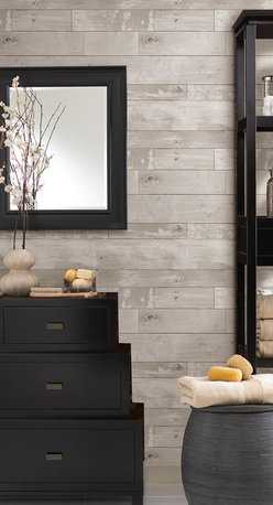 Brewster - 347-20131 Heim Distressed Wood Panel Faux Texture Wallpaper - Rustic yet chic, this distressed wood textured wall covering adds a natural allure to walls in a sophisticated color way.