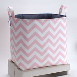 Toy Basket, Pink Chevron by The Storage Loft - Prints on prints on prints! I just love it. This pink chevron bin is perfect for dress-up clothes or toys.