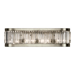Fine Art Lamps - Crystal Enchantment Sconce, 706550ST - Turn on the lights and turn up the glamour! Multifaceted crystal panels are set inside a silver-leafed frame, refracting the light from four bulbs concealed inside. Perfect for the powder room, dressing room or foyer — anywhere you want to add a little dazzle to your day.
