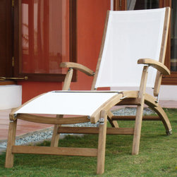 Rivera Teak Sling Steamer Lounge Chair - The Rivera Teak Wood Steamer Lounge Chair will turn your poolside into a serene tropical oasis retreat. Pair with other teak furniture to create a relaxing and stylish outdoor living area.