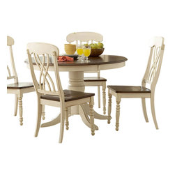 Homelegance - Homelegance Ohana 6-Piece Round Dining Room Set in White/ Cherry - The design of Ohana collection captures the essence of a casual country home. Its antique white and warm cherry, or antique black and warm cherry finishes give it a striking 2-toned appearance.