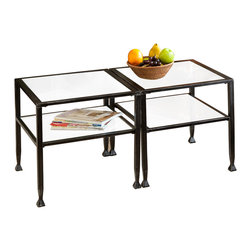 Holly & Martin - Guthrie Metal Table Collection - This contemporary table collection is the perfect combination of sleek and sturdy, modern and efficient. The metal-framed glass shelves create a beautiful shadowbox effect, while offering ample storage and decor options.