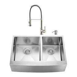 VIGO Industries - VIGO Farmhouse Stainless Steel Kitchen Sink, Faucet, Two Strainers and Dispenser - Give your kitchen a makeover starting with a VIGO Farmhouse Stainless Steel Kitchen Set.