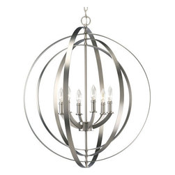 Thomasville Lighting - Thomasville Lighting P3889-126 Equinox 6 Light Foyer Pendant - Thomasville Lighting P3889-126 Six Light Equinox Foyer PendantCombining classic ideas with contemporary sensibilities, the shape of this six light foyer pendant was inspired by ancient astronomy armillary spheres with their interlocking rings while the Burnished Silver finish is very much a modern addition to this otherwise Old World fixture.Renew a room with Equinox pendants inspired by ancient astronomy armillary spheres. Featuring a combination of classic and modern inspirations, Equinox contains interlocking rings that can be rotated in different ways for a variety of looks for interior settings.Thomasville Lighting P3889-126 Features: