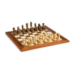 Classic Staunton Chess Set - The Cambor Games Beginner Staunton Chess Set is perfect for newcomers or seasoned players alike. The classic chessmen use the most recognizable shapes for easy play and the hand-carved beauty of the black and white finished wood pieces will elevate your next match to a new level of simple style. The felted bases keep your board scratch-free for years to come. Choose from two boards to complete your classic set. The Champion Board was made in Spain from 1.75-inch inlaid walnut and sycamore squares and features a delicate inlaid mosaic border. The highly polished Spanish Inlaid Mosaic Board combines 1.75-inch maple and walnut squares with a striking ornate border.About Cambor GamesNew Jersey-based Cambor Games has spent the last 30 years developing product lines to address a variety of classic gaming needs. The company offers chess sets backgammon boards poker equipment dominoes mahjong tiles and more. From traditional designs to novelty themed items value-priced beginner sets to high-end collectors' dreams Cambor Games has the game equipment you need to have years of fun with close friends or bitter rivals.