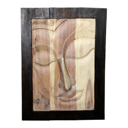 Kammika - Buddha Framed RH Sust Wood 23x31 inch H w Eco Friendly Livos Black and White Oil - Our Sustainable Monkey Pod Wood Buddha Framed Right Hand 23 inch x 31 inch Height with Eco Friendly, Natural Food-safe Livos Black and White Oils Finish is a handmade environmentally friendly work of art. The peaceful countenance of Buddha gazes through the window frame from the stately resource of wood. Discover the calming, inspiring effect of Buddha when you display this wall panel which has been skillfully carved from joining panels. Making the panels involves separate panels that are joined on the back by bars. The carving is chiseled and sanded to blend as well as possible. To make hanging easier, there are two embedded flush mount Keyhole hangers for a protruding screw from your wall. Our wall panels are expressions of beauty that could become the centerpieces of any room they grace. The talent behind these unique creations is readily visible. They are true works of art that are sure to be treasured for generations to come. The panels are made of sustainable Monkey Pod wood grown specifically for the woodcarving  industry; some variations may occur, but one thing will remain consistent - the beauty of each panel. Appealing to the viewer from any angle and hand crafted from sustainable Monkey Pod wood, we make minimal use of electric hand sanders in the finishing process. All products are dried in solar kilns and or propane kilns. No chemicals are used in the process, ever. Each piece is kiln dried, sanded, rubbed with eco friendly oil; and then are packaged with cartons from recycled cardboard with no plastic or other fillers. The color and grain of your piece of Nature will be unique, and may include small checks or cracks that occur when the wood is dried. Sizes are approximate. Products could have visible marks from tools used, patches from small repairs, knot holes, natural inclusions, and/or worm holes. There may be various separations or cracks on your piece when it arrives. There may be some slight variation in size, color, texture, and finish color.Only listed product included.