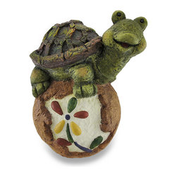 Zeckos - Whimsical Turtle on a Flower Rock Sculpted Garden Statue - Turtles are said to be lucky, and this flowery rock seems to be in good company Sculpted from cast stone, this fun and whimsical sculpture features a slightly chubby smiling turtle sitting on a round rock with a colorful flower to bring happiness to your garden, entryway, porch or patio Beautifully hand-painted in earth-tone hues, this work of decorative garden art measures 14.5 inches (37 cm) high, 11.25 inches (29 cm) long and 9.75 inches (25 cm) wide, and is perfect by the pond, pool or even inside your home, and makes a wonderful gift for that turtle loving friend