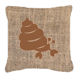 Caroline's Treasures - Hermit Crab Burlap and Brown Fabric Decorative Pillow Bb1092 - Indoor or Outdoor Pillow from heavyweight Canvas. Has the feel of Sunbrella Fabric. 18 inch x 18 inch 100% Polyester Fabric pillow Sham with pillow form. This pillow is made from our new canvas type fabric can be used Indoor or outdoor. Fade resistant, stain resistant and Machine washable..