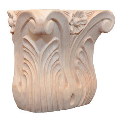 """Inviting Home - Tennessee Capital - maple wood (CM6/tmc6) - capital in hard maple wood; 5-1/4""""W x 2-5/8""""D x 4-3/4""""H bottom: 3-5/8""""W x 1-3/4""""D Wood capitals are hand carved in deep relief design from premium selected North American hardwoods such as alder beech cherry hard maple and oak. They are triple sanded and ready to accept stain or paint. Hardwood capitals are a great way to enhance any pilaster or column."""