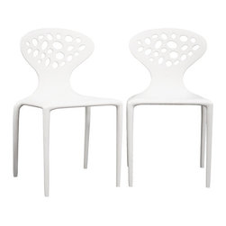 Baxton Studio - Baxton Studio DURANTE White Plastic Molded Chair Set of 2 - The contemporary design of this accent chair includes plenty of personality and will give your space a boundless amount of character. Each chair is molded from a heavy-duty white hard plastic and features a unique backrest design with cutouts. Conveniently stackable and versatile, this chair will also arrive fully assembled.