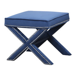 Abbyson Living - Arc Nailhead Trim Ottoman Bench - Sit on it, put up your feet, or even rest a TV dinner o on this micro-suede ottoman bench.  Whatever the use of  the Aria Nailhead Trim Ottoman Bench, it will be a favorite in your living room. This stable bench ottoman is constructed from hardwood and upholstered in navy blue, ultra soft microsuede. It features a clever folding tray shape accented with silver nail head trim.