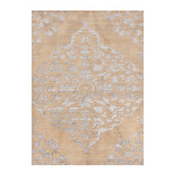Heritage Warm Tan Hand Knotted Rug 5' x 8' - Soft and light to both the hand and the eye in its delicate fawn tones accented by silver dove, the Heritage Warm Tan rug is a lovely display of traditional designs over dyed for an old-world character that emphasizes their antique derivations. With a distinction and personality that matches yours, this lovely and classic neutral wool rug is the perfect ground for a cultivated display of interior design.