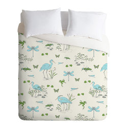 DENY Designs - Rachelle Roberts Riverside Creatures Duvet Cover - Turn your basic, boring down comforter into the super stylish focal point of your bedroom. Our Luxe Duvet is made from a heavy-weight luxurious woven polyester with a 50% cotton/50% polyester cream bottom. It also includes a hidden zipper with interior corner ties to secure your comforter. it's comfy, fade-resistant, and custom printed for each and every customer.