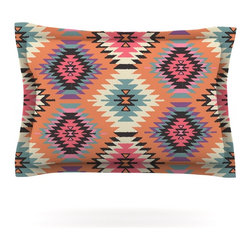 """Kess InHouse - Amanda Lane """"Navajo Dreams"""" Orange Pink Pillow Sham (Cotton, 40"""" x 20"""") - Pairing your already chic duvet cover with playful pillow shams is the perfect way to tie your bedroom together. There are endless possibilities to feed your artistic palette with these imaginative pillow shams. It will looks so elegant you won't want ruin the masterpiece you have created when you go to bed. Not only are these pillow shams nice to look at they are also made from a high quality cotton blend. They are so soft that they will elevate your sleep up to level that is beyond Cloud 9. We always print our goods with the highest quality printing process in order to maintain the integrity of the art that you are adeptly displaying. This means that you won't have to worry about your art fading or your sham loosing it's freshness."""