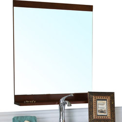 Bellaterra Home - Solid Wood Frame Mirror-Walnut - Simple wood frame rectangular mirror features high quality mirror to prevent rusting caused by bathroom humidity. 27.6 W x 2 D x 36.6 H