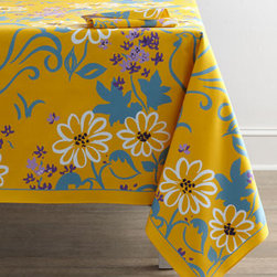 "Horchow - Hugue Capet Tablecloth, 67"" x 108"" - A recreation of a textile pattern from quintessential French textile artist Paule Marrot, these sunny table linens add a touch of Provence to table settings. We think the discreet rooster adds a bit of whimsy to the mix. Made of cotton. Machine wash;...."