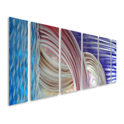 Pure Art - Innocent Infinity Abstract Aluminum Wall Art Set of 6 - Showcase your contemporary tastes with this fun and exciting metal wall art grouping! The Innocent Infinity Abstract Aluminum Wall Art Set of 6 features an abstract pattern that comes together when all six panels are displayed side by side and that features abstract lines and brilliant color. This large metal wall art sculpture set is ideal for hanging atop a large item of furniture, like a couch, in your home or office space.  Handcrafted metal wall art sculpture is made from the best aluminum and finished in premium paint for a look that is nothing less than extraordinary from every angleMade with top grade aluminum material and handcrafted with the use of special colors, it is a very appealing piece that sticks out with its genuine glow. Easy to hang and clean.