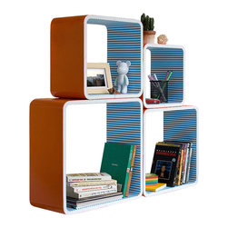 Blancho Bedding - Orange & Blue Strip Square Leather Wall Shelf /  Floating Shelf  Set of 4 - These rounded corner wall cube shelves add a new and refreshing element to your room and can be easily combined with other pieces to create a customized wall space. Coming in various colors and sizes, they spice up your home's decor, add versatility, and create a whole new range of storage spaces. You can hang them on the wall, or have them stand on table or floor, any way you like. Fashion forward design has never been so functional. This range of faux leather storage cubes is sure to delight! Perfect for wall mounting, these modern display floating shelves are sure to delight. Constructed from MDF with a top faux leather wrapping. Easy to mount, easy to love! Attractive shelf boxes give any wall in your home a striking appearance. Arrange in whatever fashion you like - whether it be grouped together or displayed separately. Each box serves as a practical shelf, as well as a great wall decoration.