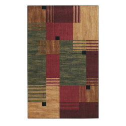 "Mohawk Home - Mohawk New Wave Alliance Multi Contemporary Patch 1'8"" x 2'10"" Rug (10276) - A geometric pattern of squares in dark red, green and beige tones is a great way to add flair to any dining room, living room or bedroom. Printed on the same machines that manufacture one of the world"